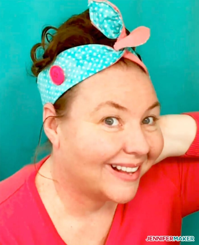 DIY Headband with Button and a Topknot Tie in blue polka dot cotton