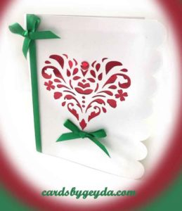 White and red heart cutwork card designed by JenniferMaker and made by CardsbyGeyda