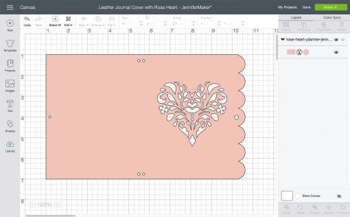 Uploading the rose heart design to Cricut Design Space to make our DIY Leather Journal