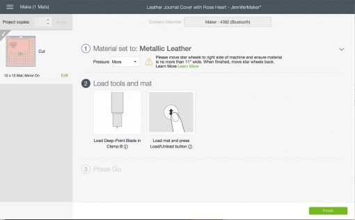 """Change your pressure to """"More"""" in Cricut Design Space for the DIY Leather Journal"""