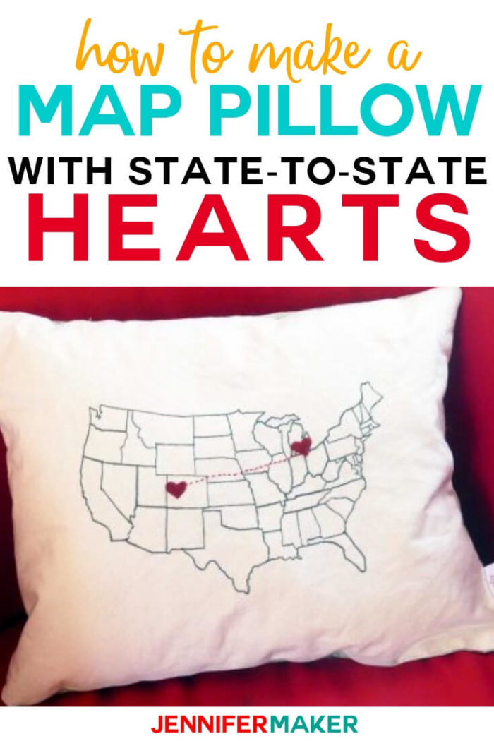 This DIY map pillow with state-to-state hearts is the perfect gift to give to a long distance loved one, faraway friends, or just mark the route of a special vacation you took. #diy #tutorial #craftprojects