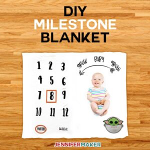 DIY Milestone Blanket for Baby | Baby Yoda and Girafee | How to Layer Iron On Vinyl on Cricut