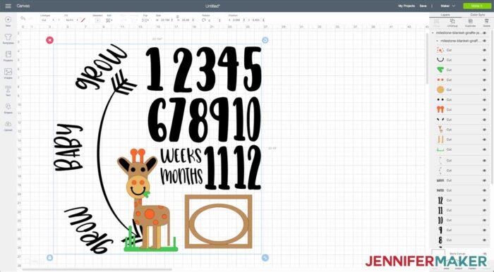 Milestone blanket svg cut file uploaded to Cricut Design Space