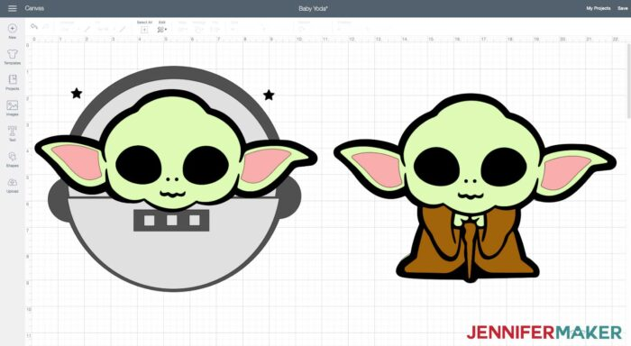 Baby Yoda layered file in Cricut Design Space