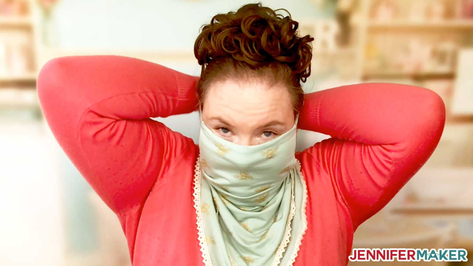 Tying the pretty neck scarf face mask around the neck