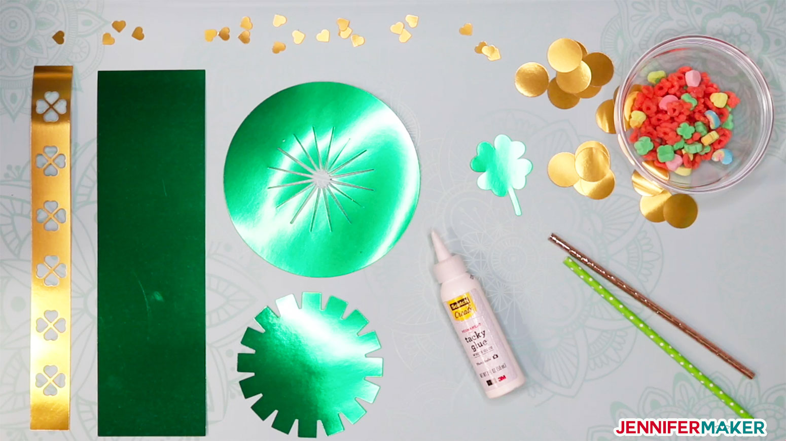 Materials to make a DIY Paper Hat and Leprechaun Trap
