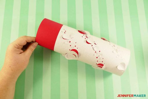 Inserting a red liner into the DIY paper lantern