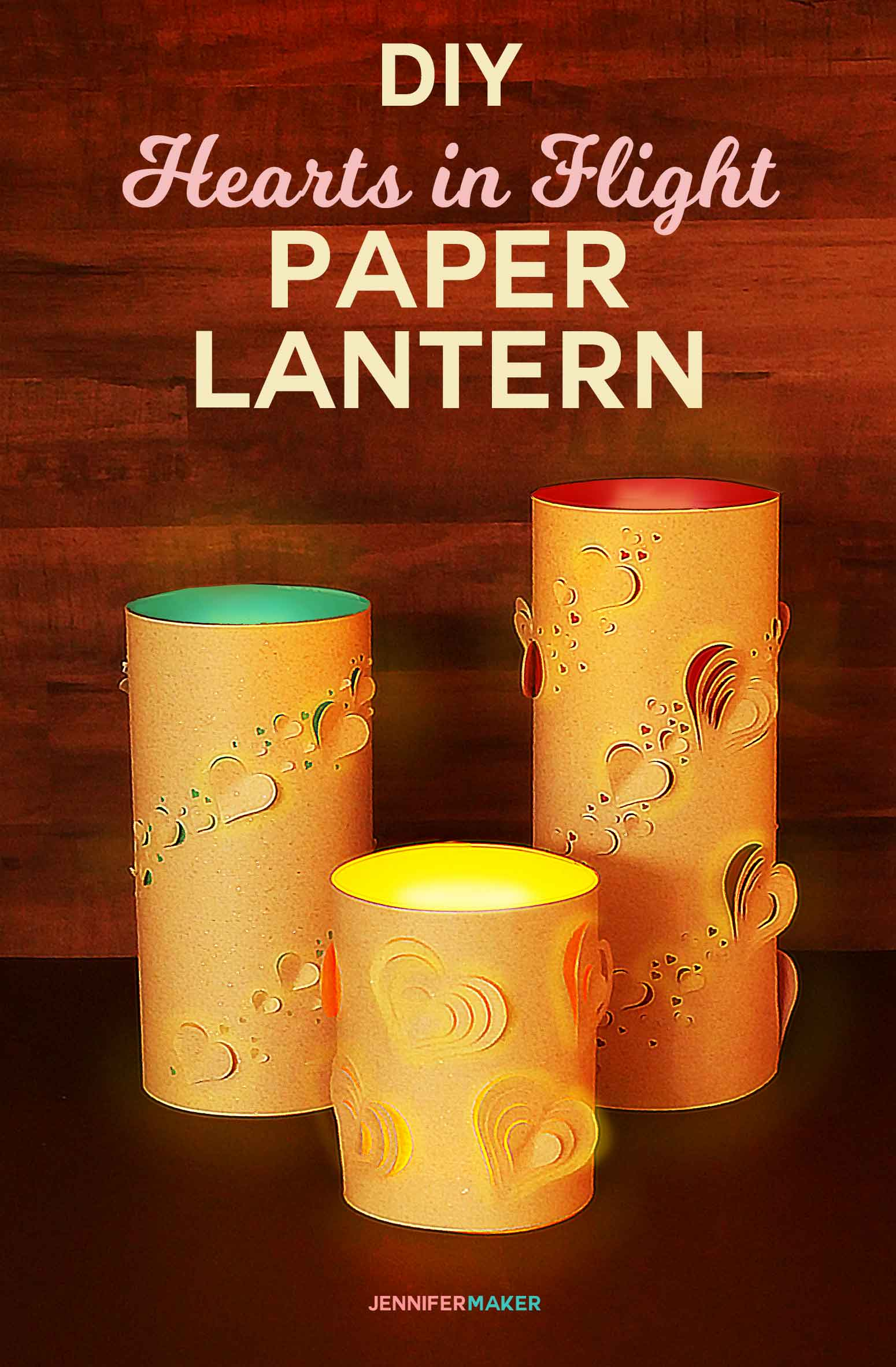 So pretty! How to make a DIY Paper Lantern for Valentine's Day, weddings, or for someone you love! Check out all the little hearts in flight. Includes free pattern and SVG cut files! #papercraft