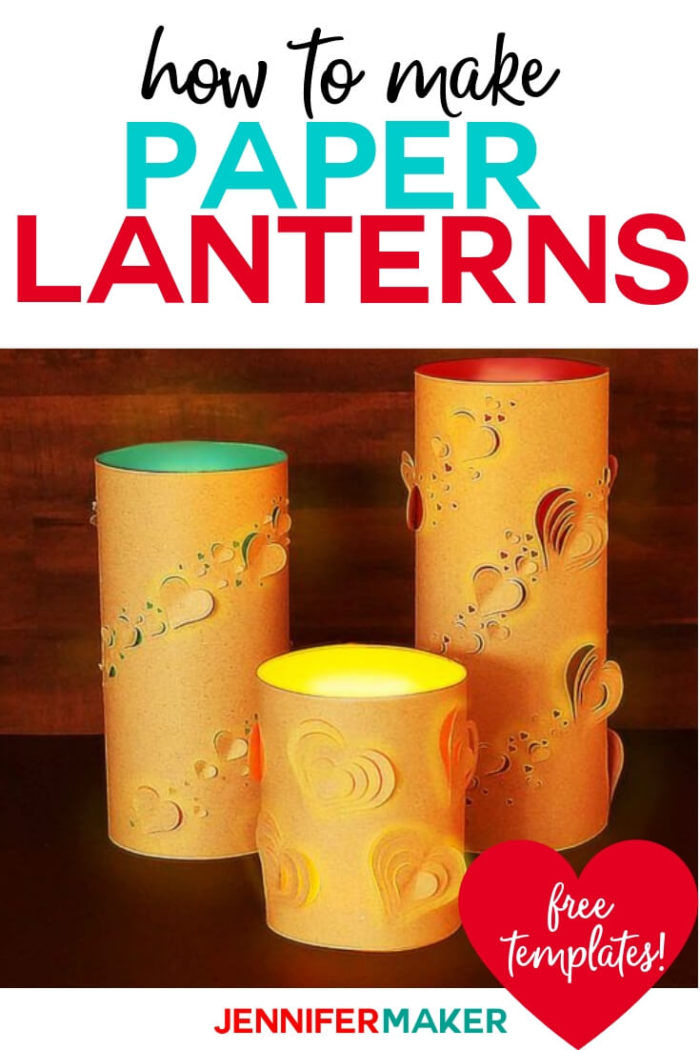 Learn how to make paper lanterns with hearts to share both love and light. This projects includes a full tutorial as well as a free SVG cut file. #cricut #cricutmade #cricutmaker #cricutexplore #svg #svgfile