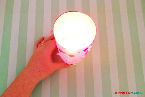 A tealight inserted into the DIY paper lantern is so pretty!