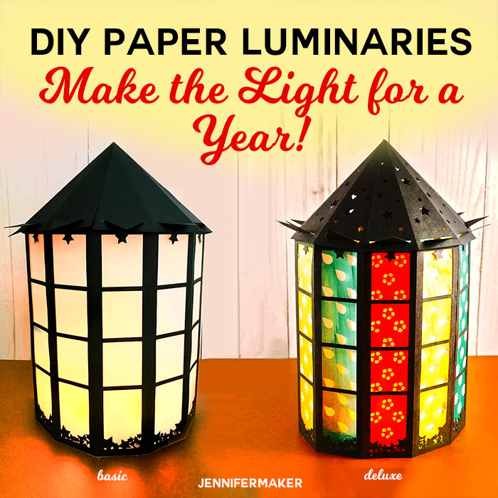 DIY Paper Luminaries: Make the Light for a Year with 12 Free Paper Luminaries | Tutorials and Free SVG Cut Files for Cricut and Silhouette