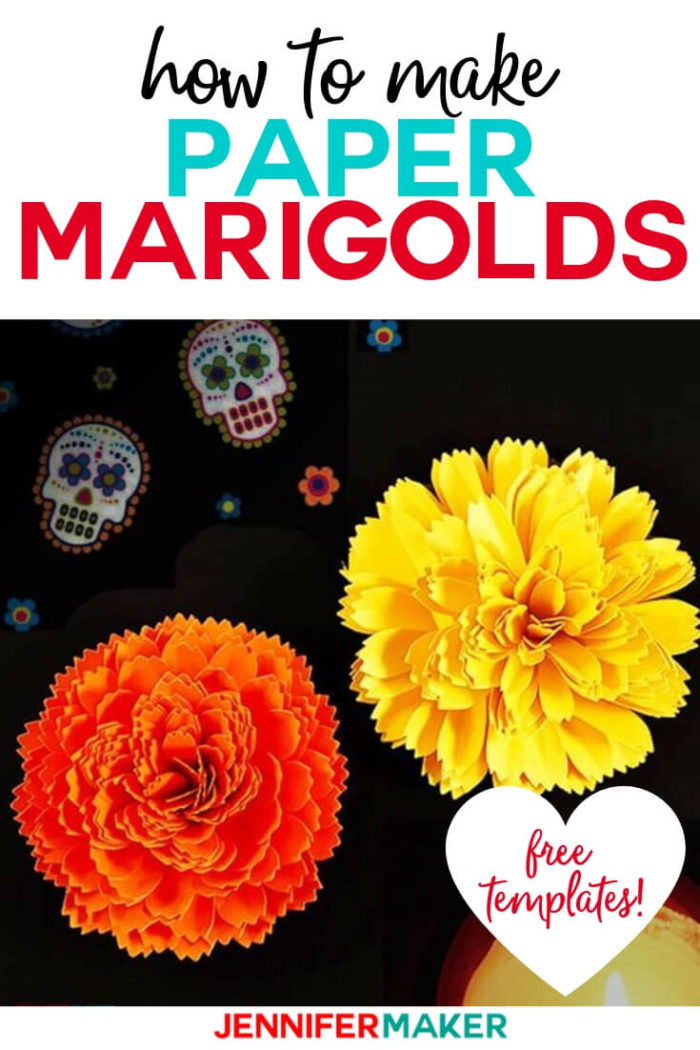 Learn how to make DIY paper marigold with realistically-shaped petals. This project is perfect for autumn and day of the dead.  #cricut #cricutmade #cricutmaker #cricutexplore #svg #svgfile