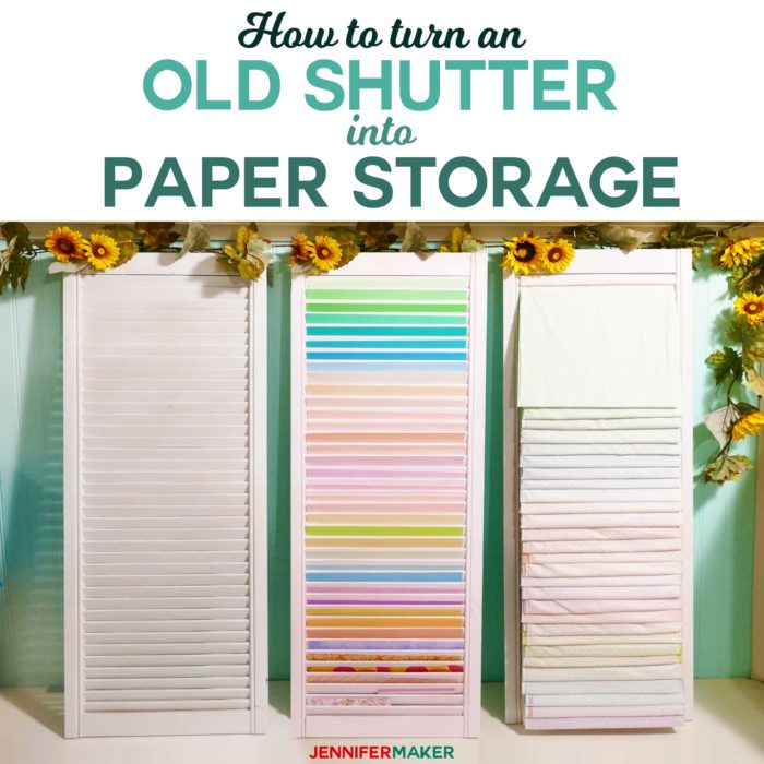 DIY Paper Organizer from Repurposed Shutter | Upcycle Old Wood Shutter Into Paper Storage #storage #craftroom #papercraft #upcycle