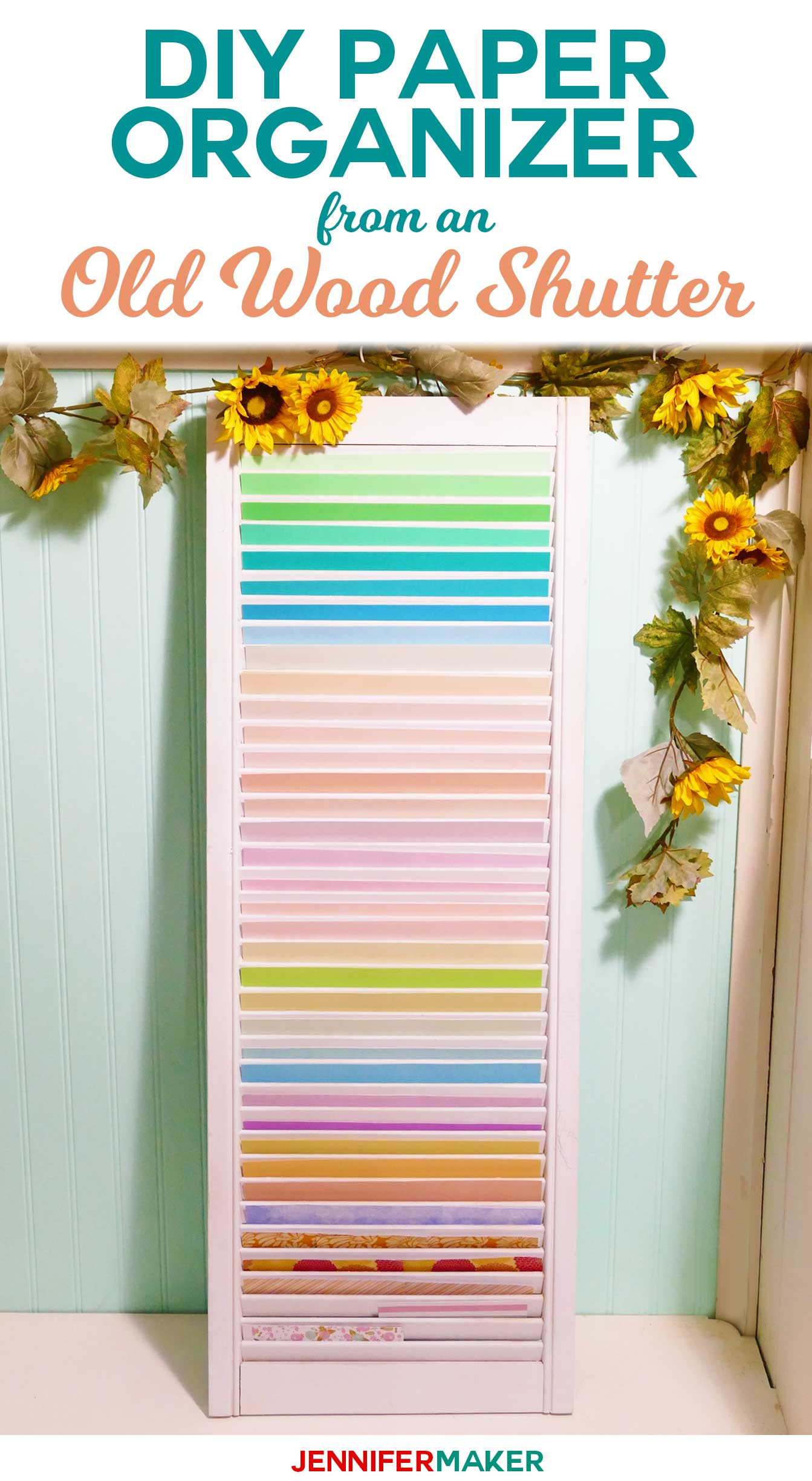 Diy Paper Organizer From Repurposed Shutter - Upcycle Old Wood