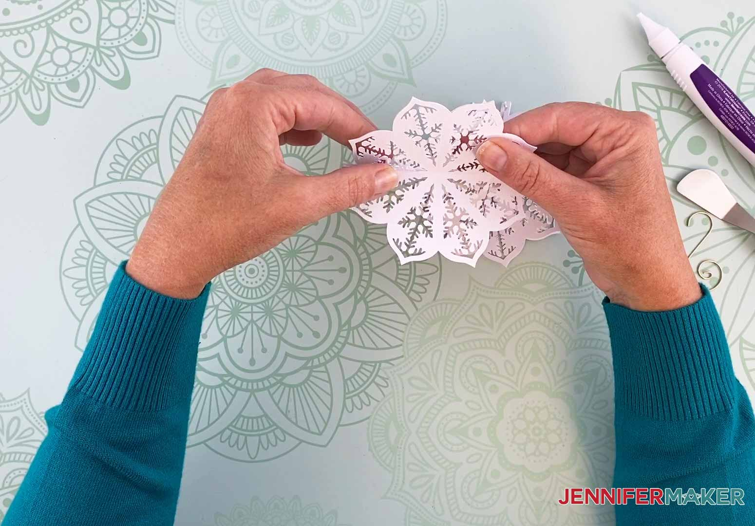 Align the first two pieces together for my diy paper ornament