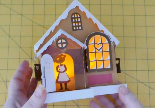 The finished DIY Paper Village House: Maker Heart Cottage