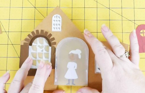Assemble and attach your Mrs Claus to the vellum of your diy paper village house