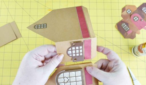 Attach your walls of your diy paper village house