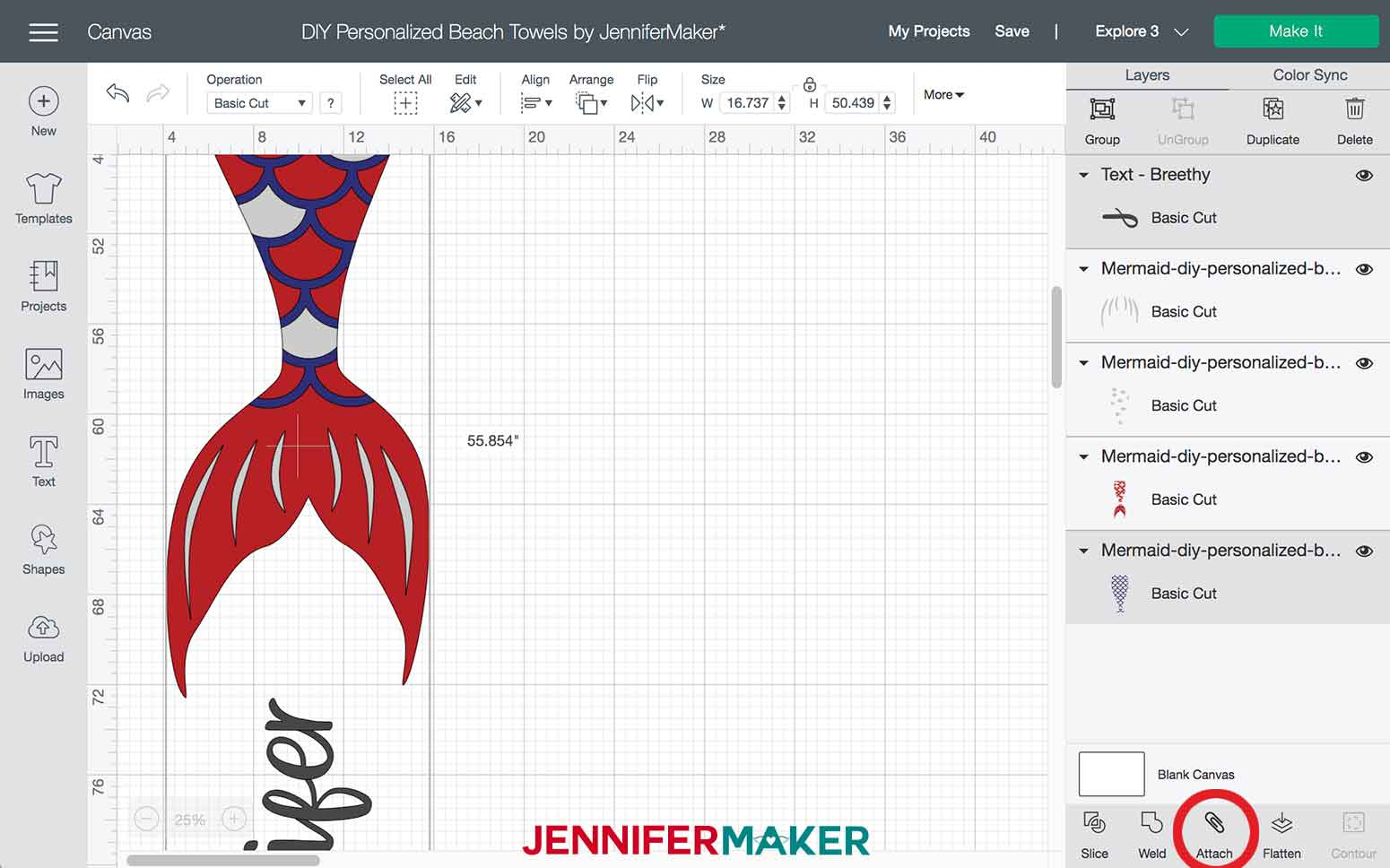 Attaching layers in Design Space for the Mermaid DIY Personalized Beach Towels