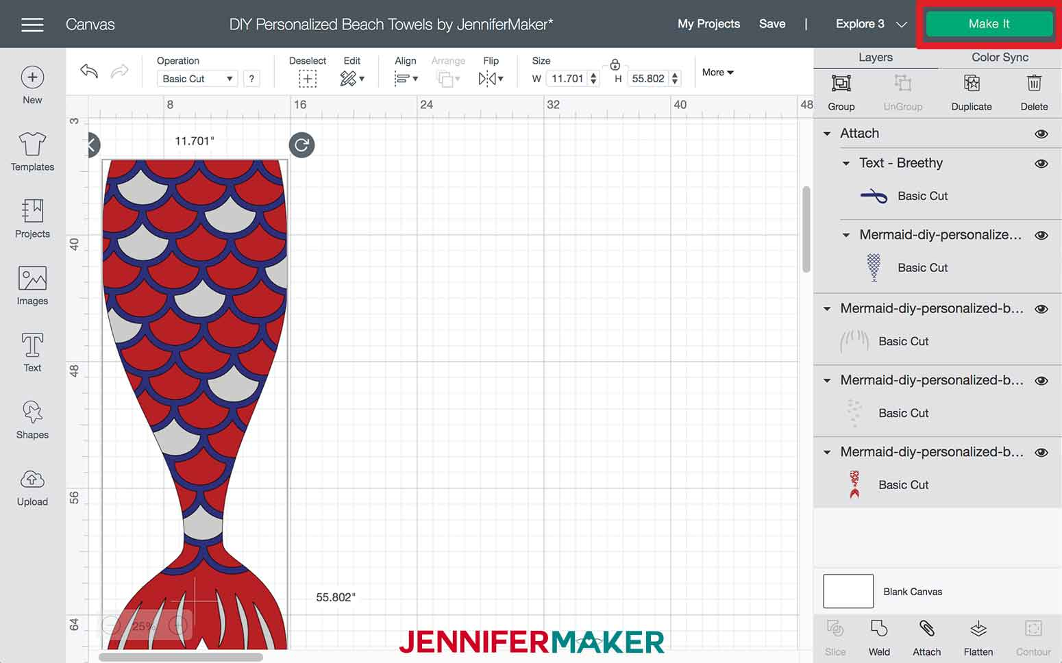 Click Make It in Design Space for the Mermaid DIY Personalized Beach Towels