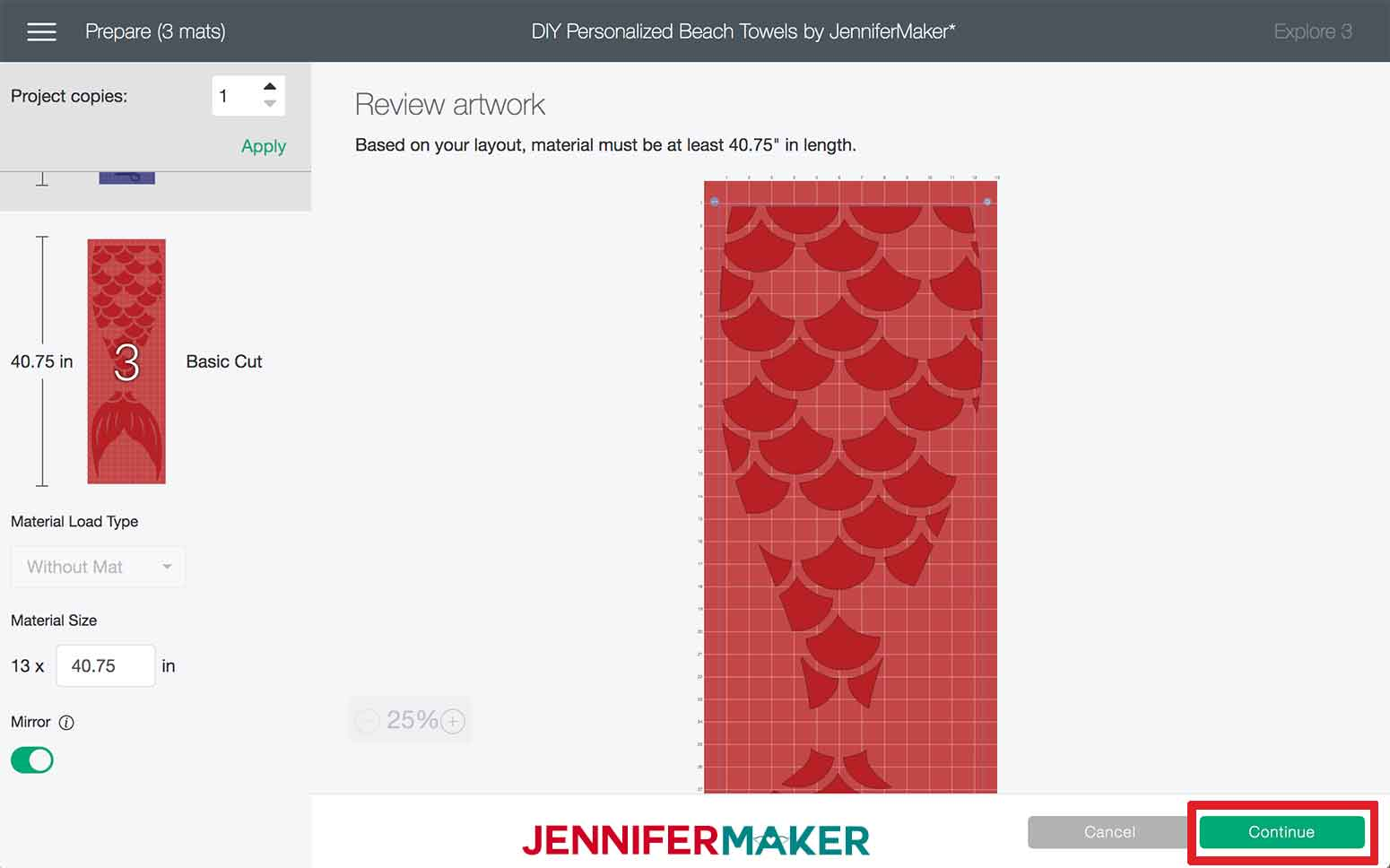 Clicking Continue in Design Space to make the Mermaid DIY Personalized Beach Towels
