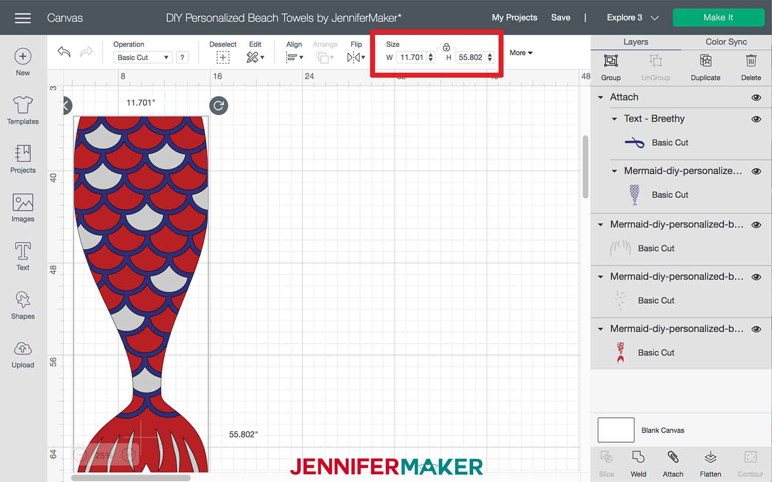 Confirming design length in Design Space for the Mermaid DIY Personalized Beach Towels