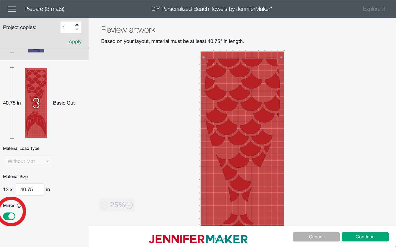 Mirroring layer in Design Space to make the Mermaid DIY Personalized Beach Towels