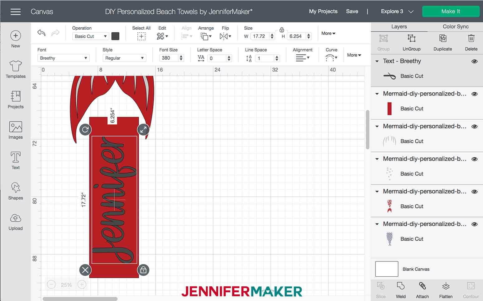 Sizing and placing text in Design Space for the Mermaid DIY Personalized Beach Towels