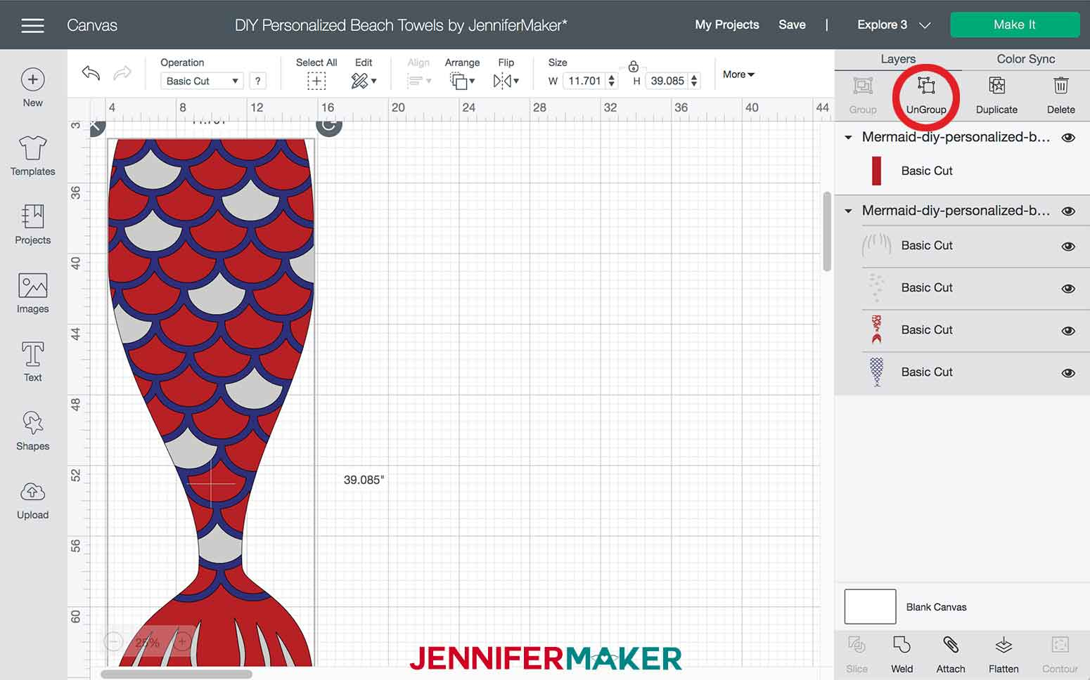 Ungrouping layers of the Mermaid DIY Personalized Beach Towels
