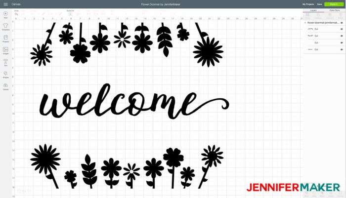 DIY Personalized Door Mat free svg cut file uploaded to Cricut Design Space