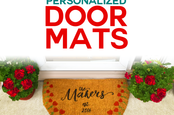 DIY Personalized Door Mats made on a Cricut -- Find out which the best stencil, paint, and sealer to use for the best and longest lasting DIY painted door mats! #cricut #doormat #cricutmade #porchdecor