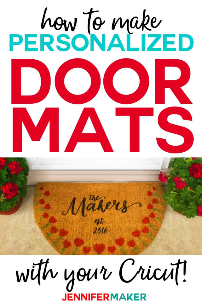 Make a DIY personalized door mat using an inexpensive fiber mat, paint, and a stencil you can cut on your Cricut! It's easier to make than you think, and I'll show you the best materials and methods to use! #cricut #cricutmade #cricutmaker #cricutexplore #svg #svgfile