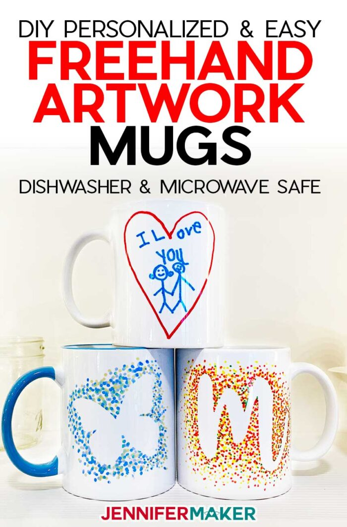 DIY Personalized Mugs with Kids Artwork and Dot Monograms - Free Templates for Cricut Infusible Ink
