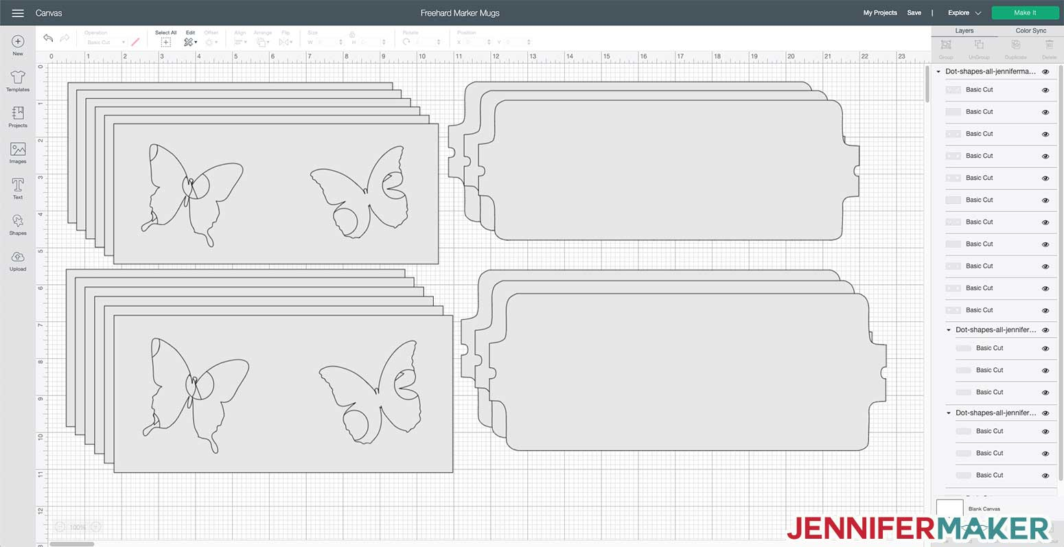 Dot butterfly SVG cut file uploaded to Cricut Design Space to make a DIY personalized mug with Infusible Ink markers