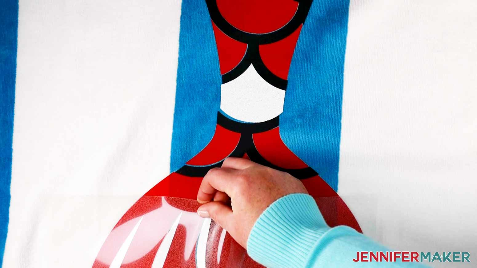 Aligning the White Glitter layer on top of the other two layers of the Mermaid DIY Personalized Beach Towel