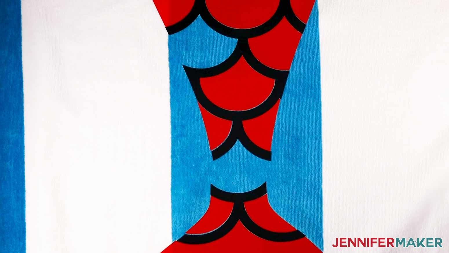 Red and Navy Iron-On layers tacked onto the Mermaid DIY Personalized Beach Towel