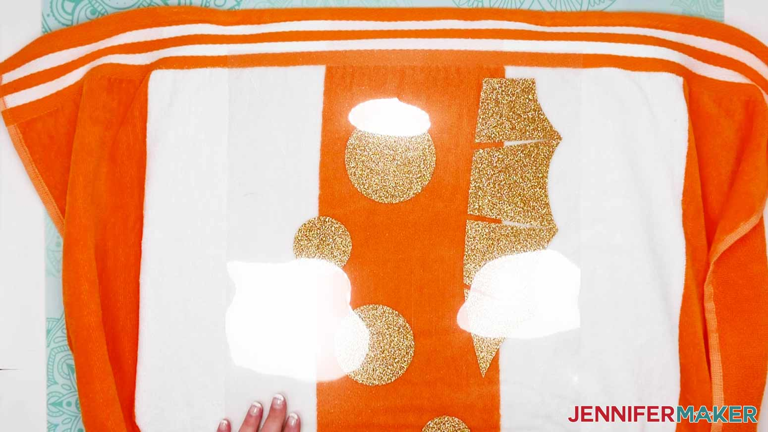 Gold Glitter Iron-On aligned on the DIY Personalized Beach Towels