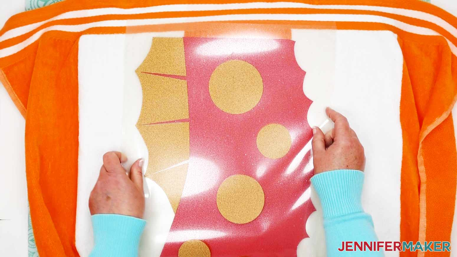 Aligning the two vinyl pieces of the Seahorse DIY Personalized Beach Towels