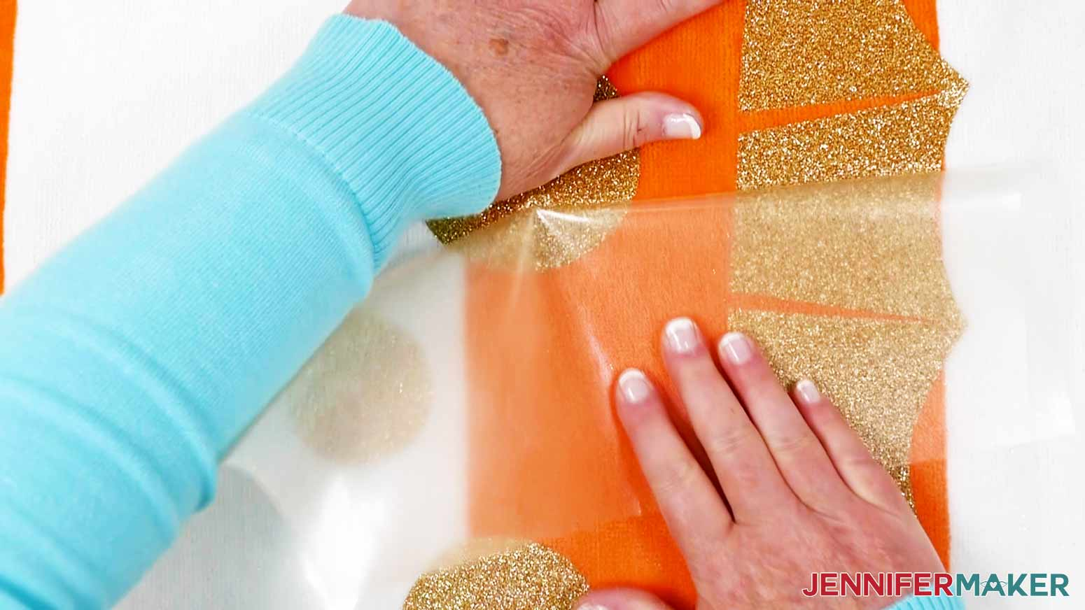 Removing the Iron-On carrier sheet of the DIY Personalized Beach Towels