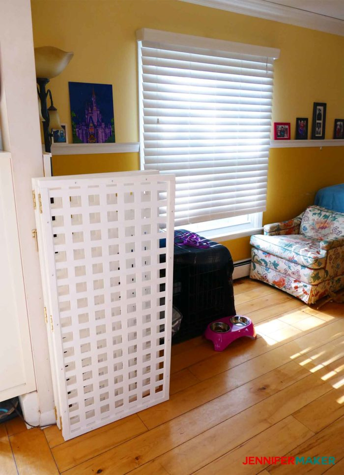 DIY Pet Gate / Baby Gate Extra Tall Extra Wide folded out of the way in a living room