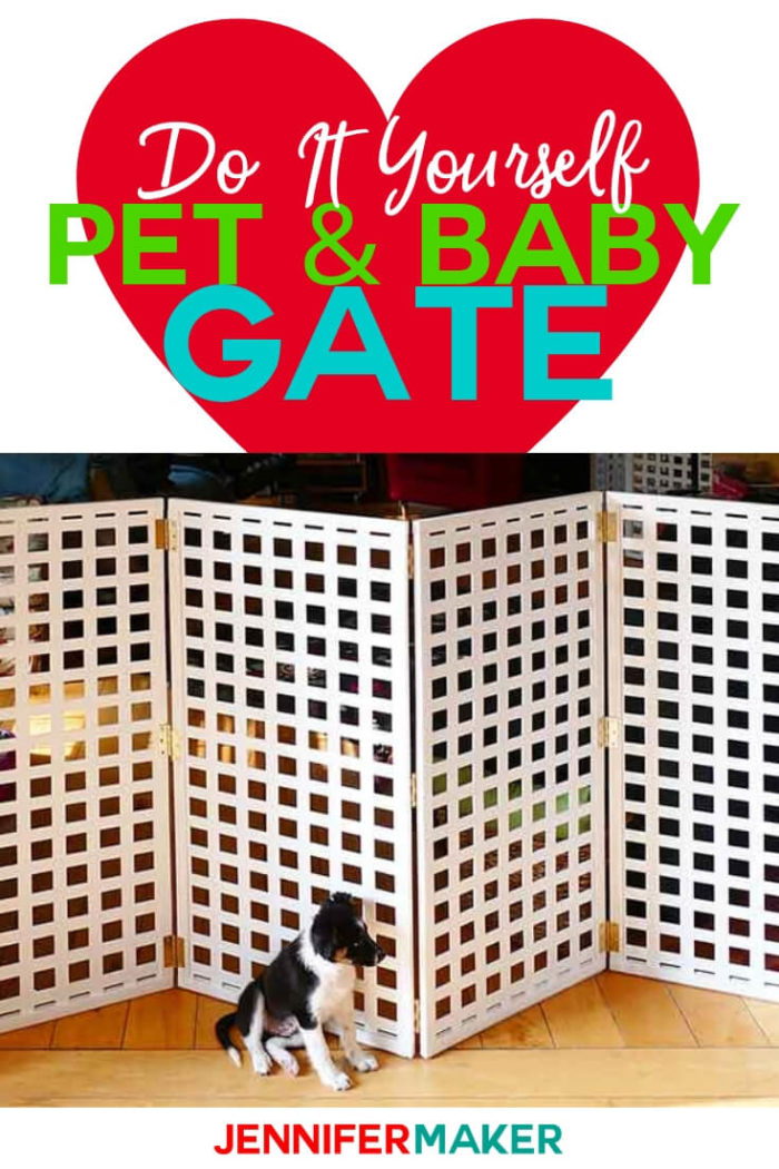 Make an easy DIY pet gate or baby gate that is both pretty and functional! This extra-wide, extra-tall freestanding security gate can be custom made to fit your space. #diy #tutorial