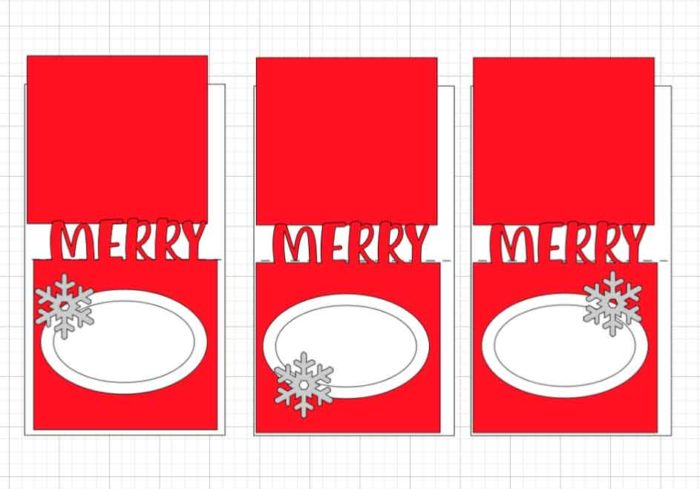 Merry Place Card with snowflakes uploaded to Design Space