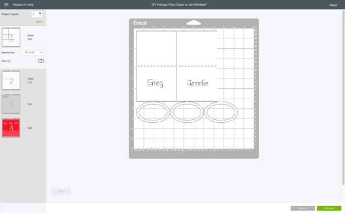 Mat Preview in Cricut Design Space showing the Christmas Place Cards