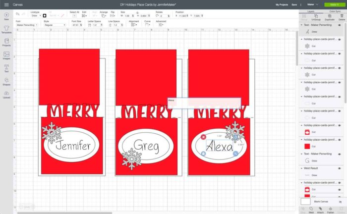 Putting text on DIY place cards in Cricut Design Space