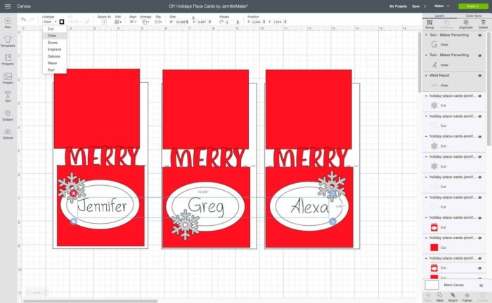 Draw layer and cut layer attached to make Christmas Place Cards