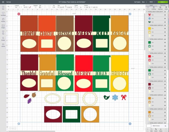 DIY Thanksgiving & Christmas holiday place cards SVG cut file uploaded to Cricut Design Space