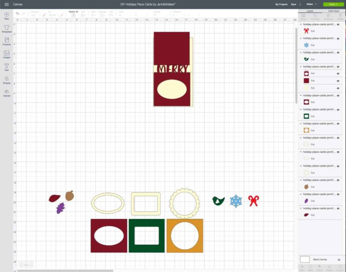 Christmas Place Card uploaded to Design Space
