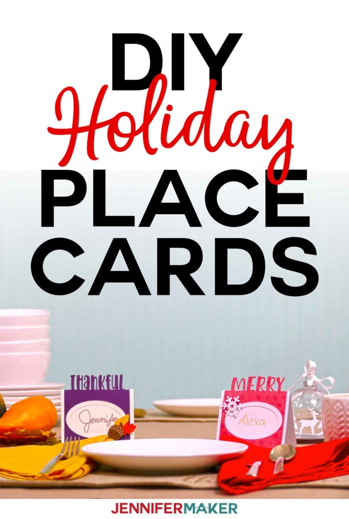 DIY Thanksgiving & Christmas holiday place cards | Cut on a Cricut with a free SVG cut file #cricutcreated #christmas #thanksgiving