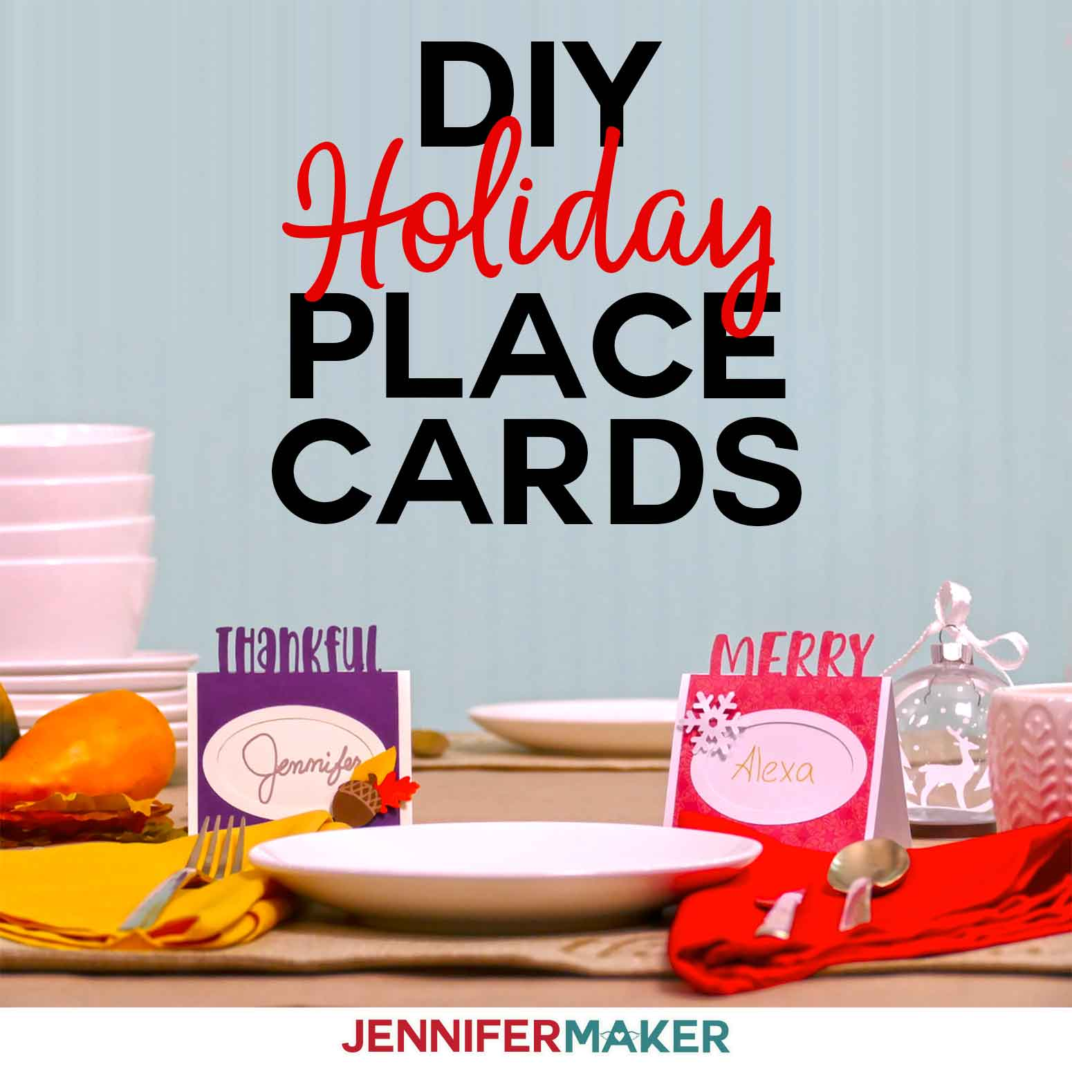 DIY Thanksgiving & Christmas holiday place cards | Cut on a Cricut with a free SVG cut file