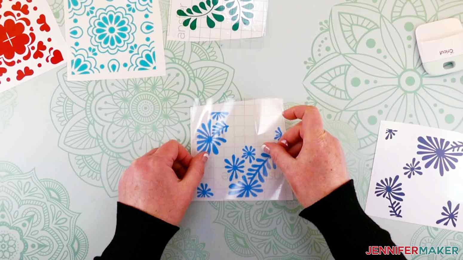 Add transfer tape to the top of the vinyl for my DIY Plant Pot with Tiles project